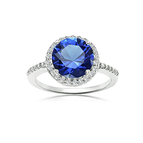 (Ice Gems Sterling Silver Simulated Blue Sapphire and Cubic Zirconia Round Halo Ring, Size 7)
