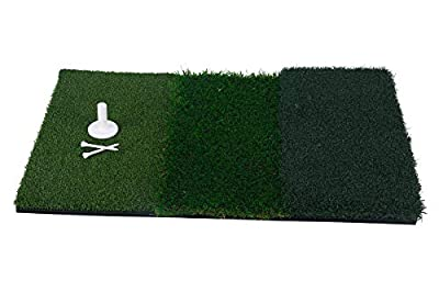 """8MILELAKE Golf Hitting Mat 25"""" x 16"""" 3-in-1 Turf Grass Mat for Driving, Chipping, and Putting Golf Practice and Training"""