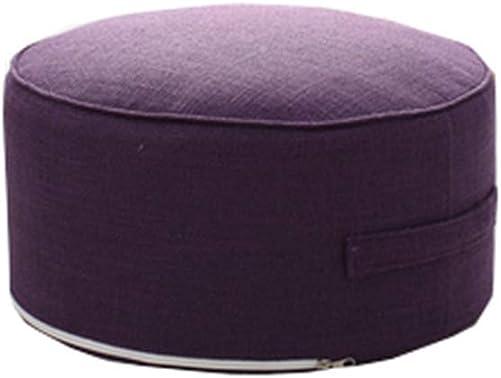 JINGXIN Cotton Linen Floor Seating Pouf Round Futon Stool Case Washable – Diameter 15.7 ,Purple