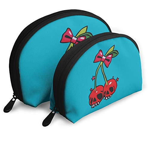 Warm-Tone Cherry Skull Big & Small 2 Pieces Pencil Bag Pen Case Multi-Purpose Storage Tools Canvas Bag Portable Travel Toiletry Pouch Cosmetic Makeup Bags with Zipper]()