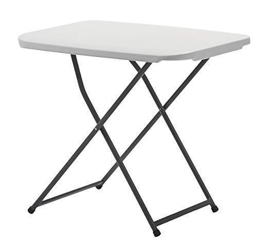 KitGarden - Mesa Auxiliar Plegable y Ajustable en Altura,75x50x56-73cm, Blanco, Folding