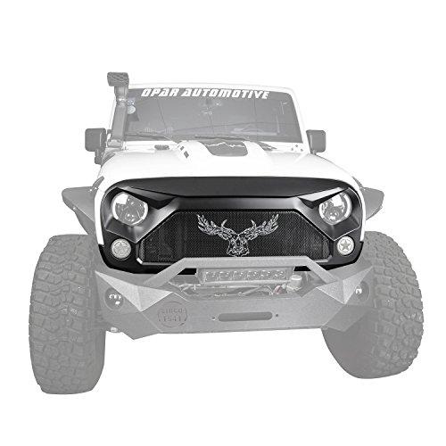 Hooke Road Jeep Grill for 2007-2018 Jeep Rubicon Sahara Sport, US ELK Matte Black Gladiator Vader Front Mesh Grille (Elk 2007)