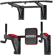 OneTwoFit Multifunctional Wall Mounted Pull Up Bar Power Tower Set Chin Up Station Home Gym Workout Strength T