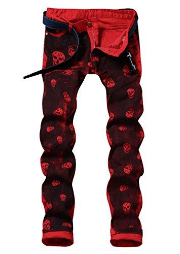 LAMCORD-Mens-Red-Skull-Printed-Slim-Fit-Moto-Biker-Skinny-Jeans-Denim-Pants-W34