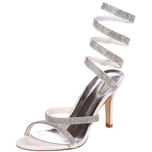 Loslandifen Donna Open Toe Sandali S Curve Cinturino Tacchi Alti Da Sposa Scarpe Bianche