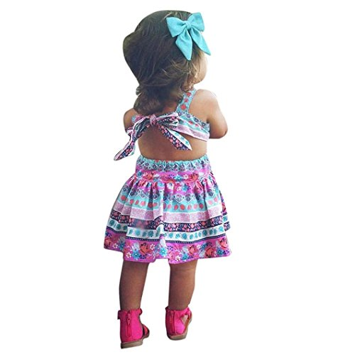 FEITONG Toddler Little Girls Summer Floral Party Pageant Princess Vest Dresses (2Year, Hot Pink)