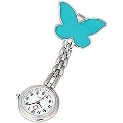 Lookatool® Nurse Clip-on Fob Brooch Pendant Hanging Butterfly Watch Pocket Watch (Blue)