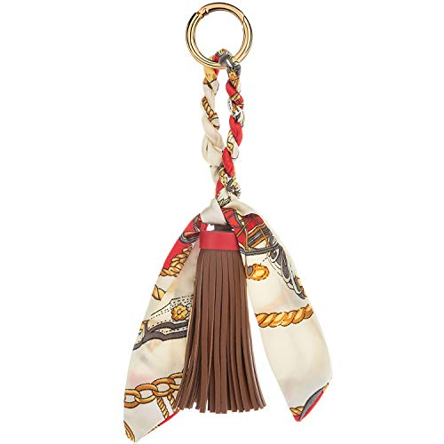 JOUDOO Tassels Keychain with Silk Ribbon for Handbag Purse Backpack Phone Hanging Pendant Keyring GJ021 (brown)