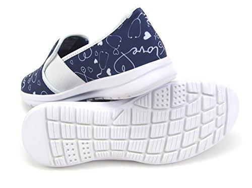 Sunny Women's Cute Memory Foam Elastic Gore Nursing Shoes - Printed - Florence (10, Stetho Love Blue) by Keep Nursing (Image #4)