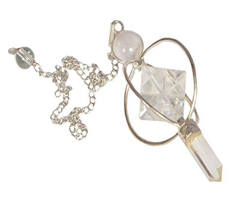 - WholesaleGemShop Clear Quartz Spinning Merkaba Pendulum Dowsing Healing Chakra Balancing Reiki AA