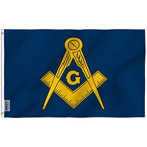 - Anley Fly Breeze 3x5 Foot Masonic Flag - Vivid Color and UV Fade Resistant - Canvas Header and Double Stitched - Free Freemasonry Flags Polyester with Brass Grommets 3 X 5 Ft