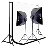 CowboyStudio 2000 Watt Digital Photography and Video Studio Continuous Lighting Kit with Carrying Case, 10 X 20ft Black & White Muslin Backdrops with Backdrop Support System