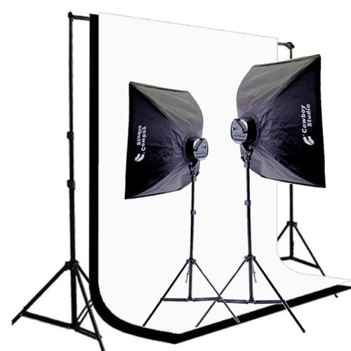 CowboyStudio 2000 Watt Digital Photography and Video Studio Continuous Lighting Kit with Carrying Case, 10 X 20ft Black & White Muslin Backdrops with Backdrop Support System by CowboyStudio
