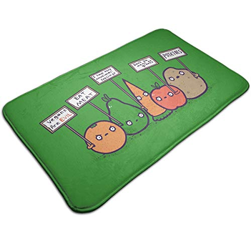 ZGSDYMMB Protesting Vegans Funny Vegetables Protest Signs Against Vegans Bath Mats Doormats Non Slip Absorbent Microfiber 31.5X19.3in