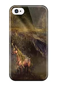 RobertWRay Scratch-free Phone Case For Iphone 4/4s- Retail Packaging - Unicorn Horse Magical Animal Autumn Forest Y