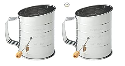 Mrs. Anderson's Baking Hand Crank Flour Icing Sugar Sifter, Stainless Steel, 3-Cup Set of 2 by Mrs. Anderson's