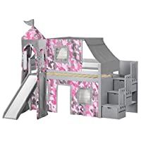 JACKPOT! Princess Low Loft Stairway Bed with Slide Pink Camo Tent and Tower, Loft Bed, Twin, Cherry-P