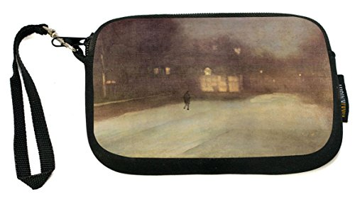 Whistler Snow - Rikki Knight James Abbot McNeill Whistler Nocturne Snow in Chelsea - Neoprene Clutch Wristlet Coin Purse with Safety Closure - Ideal case for Cosmetics Case, Camera Case, Cell Phones, Passport, etc..