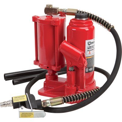 Strongway Air/Hydraulic Bottle Jack - 5-Ton Capacity, 8 1/4in.-17in. Lift Range