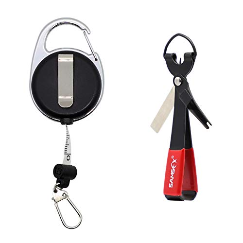 SAMSFX Fishing Quick Knot Tool with Fly Fishing Carabiner Tape Measure Zinger Retractor (Black Knot Tool with Measuring Tape Zinger)