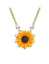 Sweet Sunflower Pearl Leaf Pendat Necklace Resin Daisy Flower Clavicular Chain Fashion Jewelry for Women Girls