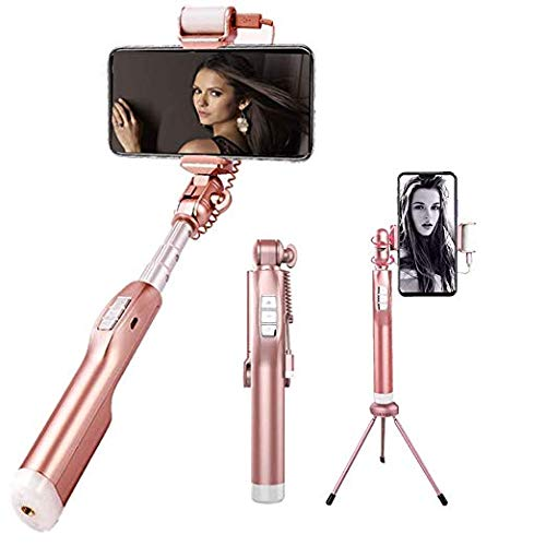 (Selfie Stick Wireless, ElecRat Extendable Wireless Remote Aluminum Alloy Tripod for iOS and Android System Phones(Rose)