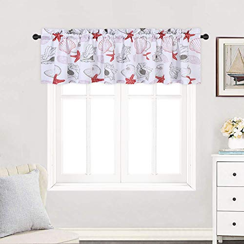 r Bathroom, Starfish Seashell Conch Pattern Valance Curtains for Windows, Rod Pocket Kitchen Valance Curtain Cafe Curtains, 60