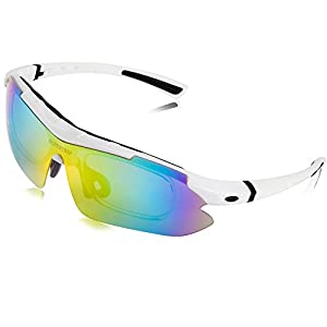 Supertrip Polarized UV400 Protection Glasses Sunglasses with 5 Interchangeable Lenses Myopia Eyes for Men Women Cycling Running Ski Golf Riding Driving Fishing Hiking Glasses Color White-Black