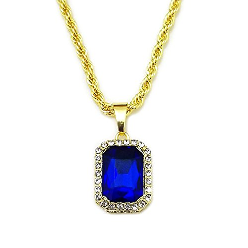 HH Bling Empire Mens Celebrity Style Hip Hop Gold Synthetic Ruby Emerald Sapphire Pendant Necklace (Lab Sapphire) (Ruby Emerald Pendant)