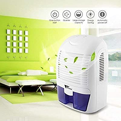 .com - amzdeal Mini Dehumidifier Compact and Portable 50oz Capacity Quiet Dehumidifier for 323 Sq Ft Home Kitchen Bedroom Basement Garage Auto Off -