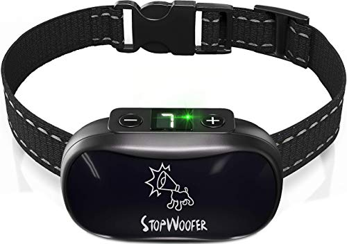 STOPWOOFER Dog Bark Collar – No Shock, No Pain, Humane Barking Control Device for Small, Medium and Large Dogs – w/2…