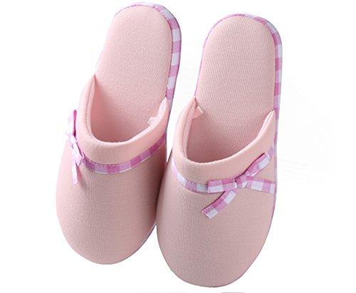 Aerusi Womens Fleece and Microfiber Checkered Trim Slippers Pink i1QCSra