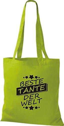 ShirtInStyle Bolso de tela Bolsa de algodón Mejor TANTE der Welt Kiwi