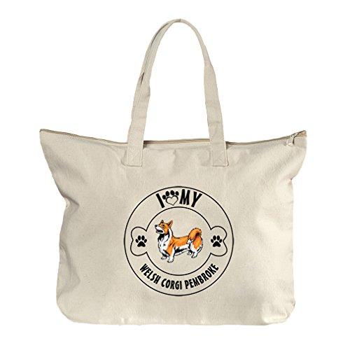 I Love Paw My Welsh Corgi Pembroke Dog Canvas Beach Zipper Tote Bag - Center Shopping Pembroke