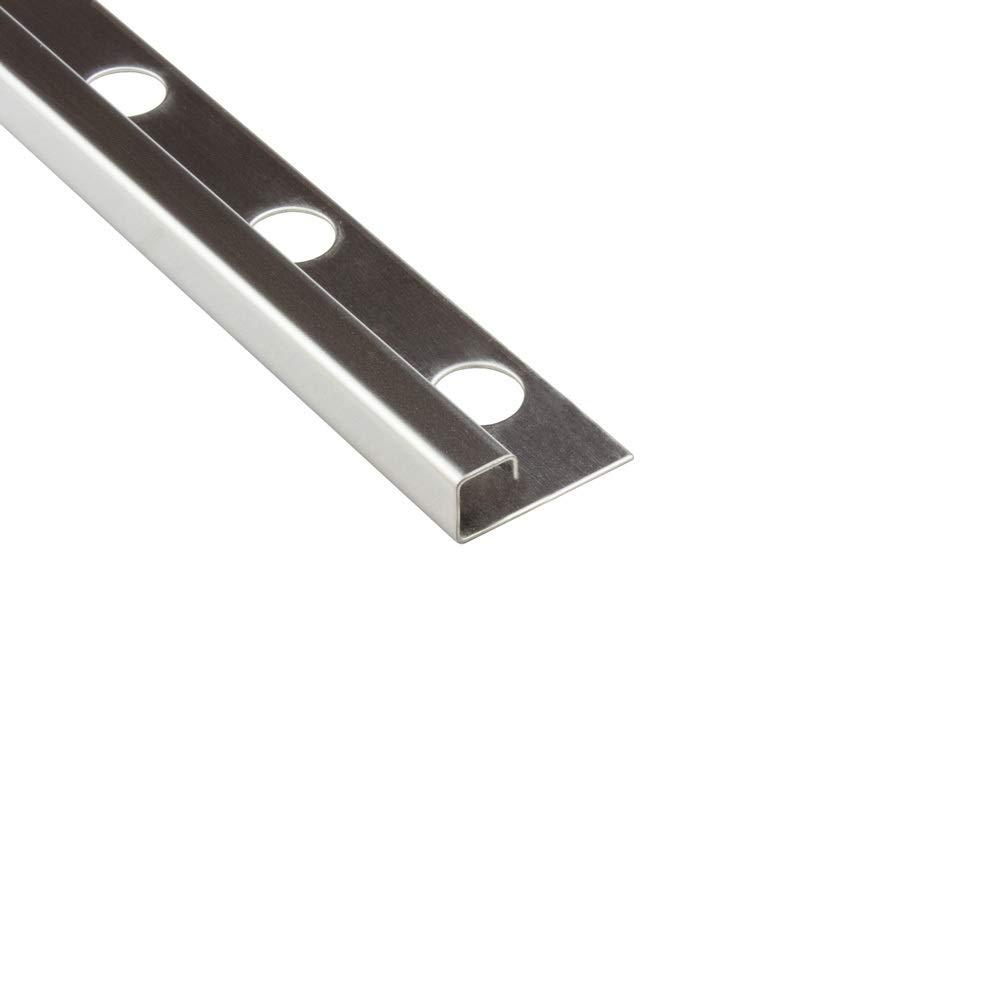 Quadro Edelstahlschiene Fliesenprofil Fliesenschiene Edelstahl V2A L250cm 12mm geb/ürstet