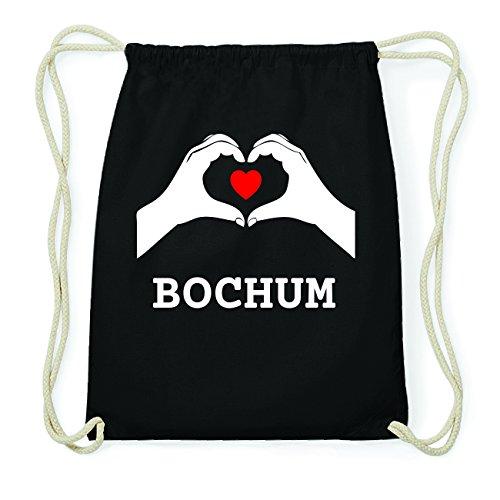JOllify BOCHUM Hipster Turnbeutel Tasche Rucksack aus Baumwolle - Farbe: schwarz Design: Hände Herz LOGCuMji