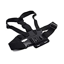 Elastic Strap Action Camera Chest Harness Mount for Gopro/SJCAM/ODRVM/Pictek/Vtin/APEMAN/Campark/Patec/Victure/akaso/ICOOLS/DBPower/ANART/GooKit/SJ4000/yi Helmet Camera(Not Include Camera)