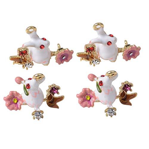Fityle 4pcs Enamel Rabbit Charms Beads Necklace Bracelets Pendants Easter Earrings Dangle Charms Kids Crafts Supply ()