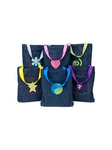 Bag Toy Denim (Denim Jean Embroidered Pocket Tote Bags (1 dozen) - Bulk [Toy])