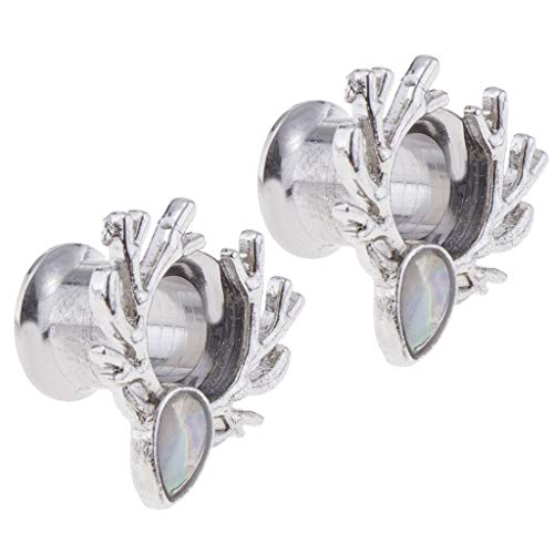2 Pcs Forest Antlers Sliver Opal Ear Plugs Tunnels for Women Men Ear Jewelry | Size - 8mm