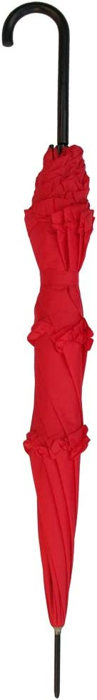 RainStoppers Womens Open Parasol Umbrella with Three Ruffles