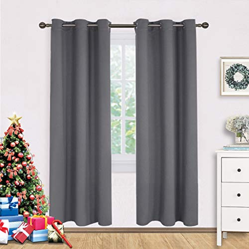 - NICETOWN Bedroom Blackout Draperies Curtains Panels, Three Pass Microfiber Noise Reducing Thermal Insulated Solid Ring Top Blackout Window Curtains (Two Panels,42 x 72 Inch,Gray)