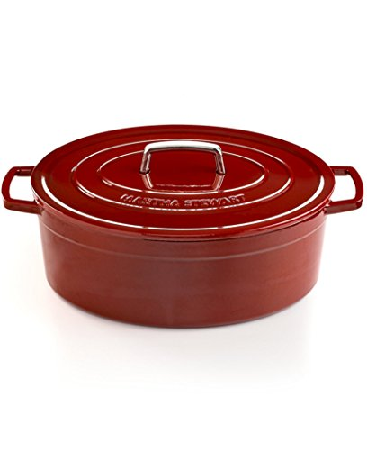 Martha Stewart Collection - Collector's Enameled Cast Iron 8 Qt. Oval Casserole (Cranberry) 8 Qt Enameled Cast Iron