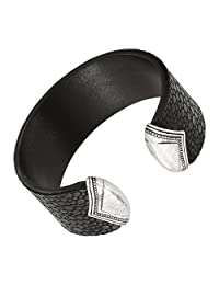 Silpada 'Sting Ray' Genuine Leather and Sterling Silver Cuff, 6.75""
