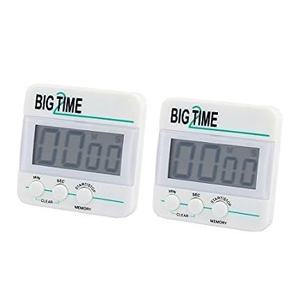 eDealMax 2pcs cronómetro digital de cocina dígitos grandes fuerte alarma Soporte magnético y soporte retráctil