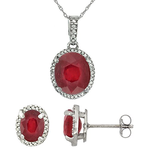 10k White Gold Diamond Enhanced Genuine Ruby Oval Halo Earrings Necklace Set Oval 7x5mm & 11x9mm