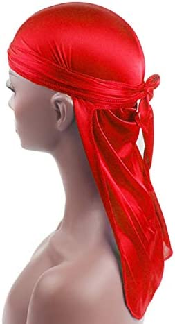 EdBerk74 Hombres Mujeres Seda Sat/én Transpirable Sedoso Durag 360 Wave Cool Bandana Hat Turbante