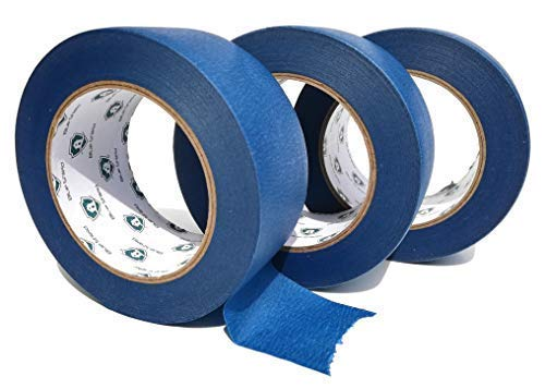 2 Inch Blue Painters Tape {3 Pack of 60 Yard Colored Masking Tapes} Paint Edger with Low Tack Adhesive {Professional Wall Safe Painting Supplies Kit} Multi Use Tool For Kid/Adult Crafts By Blue Shield