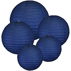 "8"" 10'' 12'' Navy Blue Paper Lanterns (Set of 5) - Click for more Chinese/Japanese Paper Lantern Colors & Sizes! …"