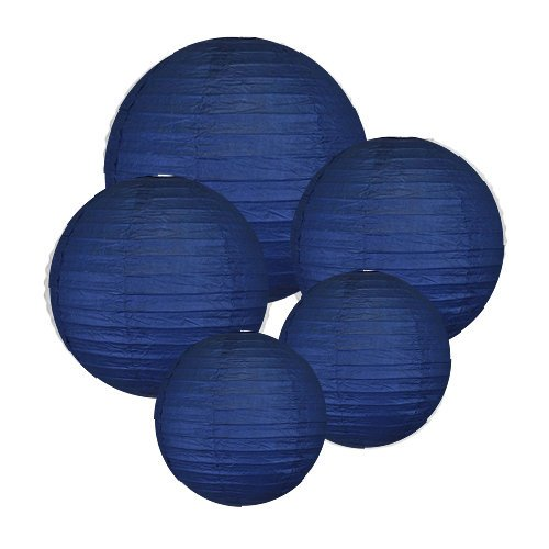8-10-12-Navy-Blue-Paper-Lanterns-Set-of-5-Click-for-more-ChineseJapanese-Paper-Lantern-Colors-Sizes-